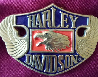 Vintage Solid Brass Harley Davidson Motorcycles Eagle Head & Wings Belt Buckle Never Used~Made By Baron Circa 1987
