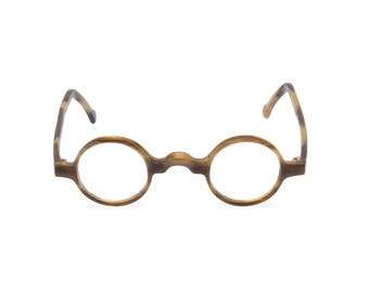 What a spectacle! 'GROUCHO' Taupe Tortoise Handmade round keyhole bridge 1920s 30s style spectacles  Rx ready or reading glasses
