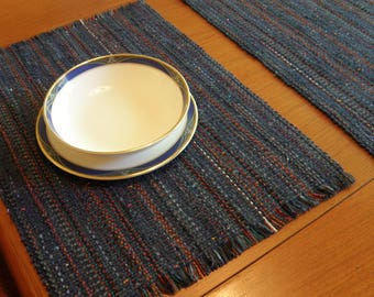 Pair of Denim blue handwoven washable placemats
