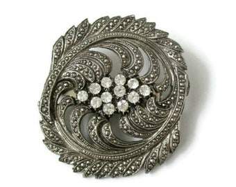 Large 80s silver brooch, vintage silver and rhinestone brooch, faux marcasite and rhinestone brooch, big 80s brooch