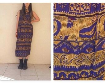 90s Vintage Grunge Boho Tribal Print Gypsy Maxi Dress / boho maxi dress / aztec / ethnic / tribal / 90s / blue / gold / hippy