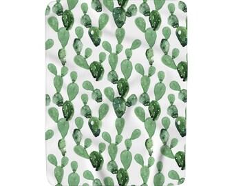 Watercolour Cactus Sherpa Fleece Throw Blanket