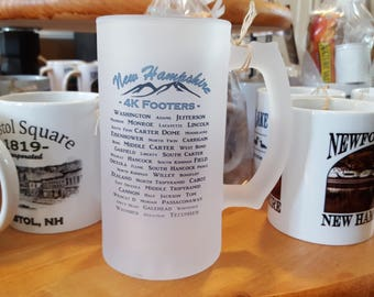 New Hampshire  4000 4k Footer List Coffee Mug, Frosted Mug, Mason Jar