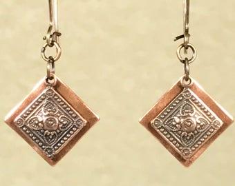Antique Copper Earrings Dangle Earrings Bohemian Earrings Earrings Copper Earrings Diamond Earrings Boho Jewelry