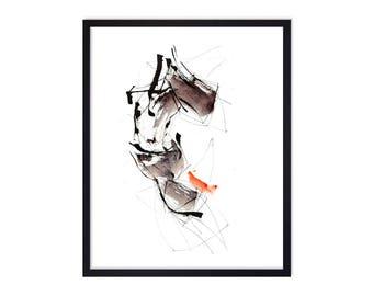 Abstract Horse Art Print - Horse Prints - Watercolor Painting - Dark Horse - Original Art