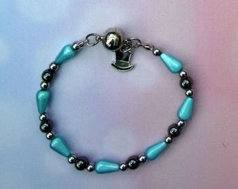 Haematite and miracle bead bracelet with magnetic clasp