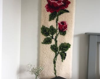 Vintage Mid Century Shillcraft Finished Rose Rug | Retro Shillcraft Hanging Floral Tapestry 1970's