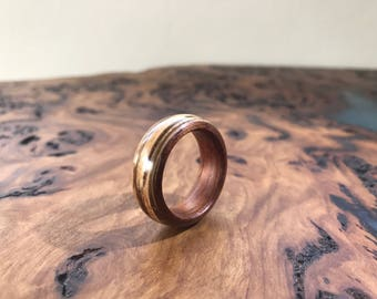 Handcrafted wood ring - Zebrawood and red cedar - thumb ring