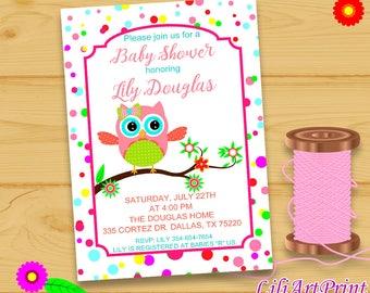Owl Baby Shower Invitation, Printable Baby Shower, Owl Baby Shower invite, Owl invitation, Digital file(35)