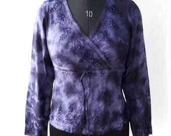 Bohemin Royal Blue Color Embroidered Blouse .