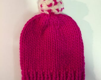 Chunky Knitted Beanie Hat + Pom Pom (100% Wool) - Hot Pink/Cream Contrast
