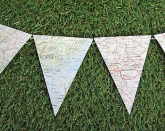 Paper bunting featuring vintage atlas