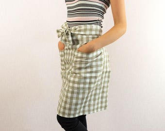 Linen Kitchen short apron with pockets Cafe Natural linen apron Canvas apron Table linens High quality linen Barista apron