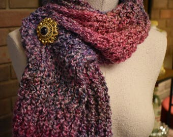 """Hand Knit 'Soft Heather' Lavender, Pink, Gray Serenity Scarf 66"""" long"""