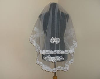 White 2 Tier Beaded Lace Wedding Veil