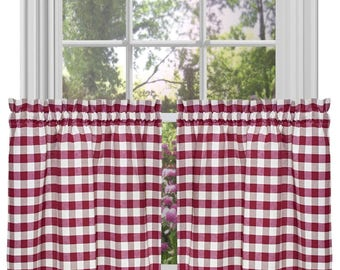 lovemyfabric Poly Cotton Gingham Checkered Plaid Design  Kitchen Tier Curtain Window Treatment Set