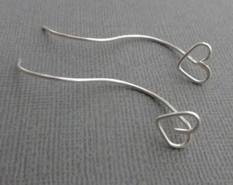 Heart Hoop Earrings, silver plated