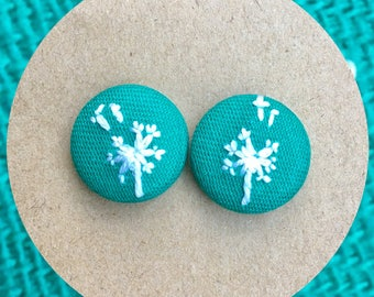 Dandelions - hand embroidered earring studs