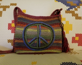 Bohemian Hippie Peace Sign Purse Handbag