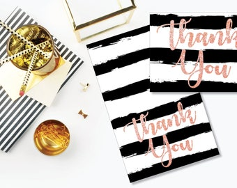 Thank You Card. Instant Download. Printable Thank You Card. Pink Glitter, Black and White. - 04