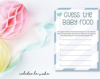 Instant Download Guess the Baby Food Baby Shower Game. Printable Baby Shower Baby Boy Game. Blue
