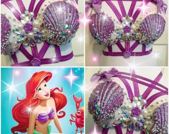 The Little Mermaid Ariel Rave Bra {READY TO SHIP 34B}