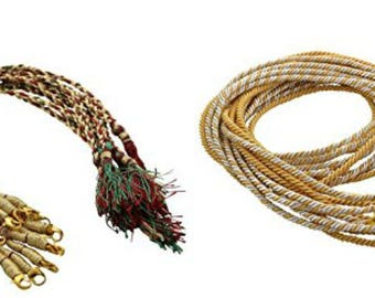 Necklace back rope dori 2 different styles Red green ZariThread & Metal dori Combo for silk thread /terracota jewelery, quilling