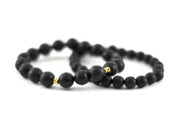 Faceted Black Onyx Stack Bracelet Set, 8mm, 10mm, Matte Beads, Black Beads, Black Faceted Bracelet, Gemstone Bracelet, Noir, Onyx