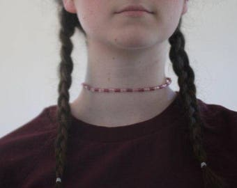 Magenta and Light Pink Striped Choker
