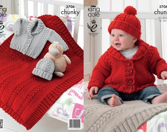Babies Jacket, Blanket and Hat Knitting Pattern - King Cole Chunky Knitting Pattern 3706