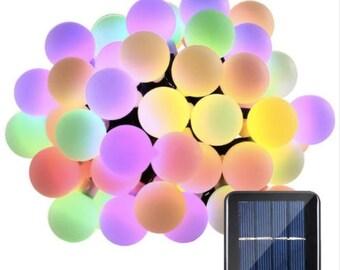 LED Globe/Ball String Lights - Solar Powered 21ft 50 LED Lights Multi-Colored