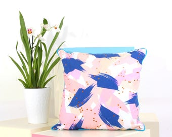 Graphic Brushstroke Print Cushion/Pillow with Blue Piping and Grey Back - Bespoke and Unique Designs by Artists