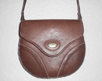 FINI DE FRANCE brown leather shoulder bag