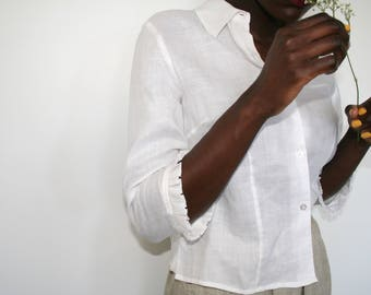 Linen Blouse with Ruffled Trim