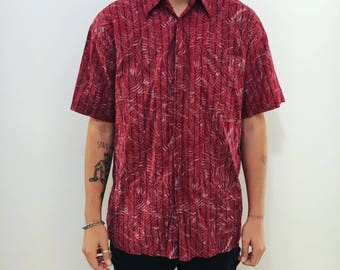Mens red palm surf style buttonup // hawaiin style // 90s fashion