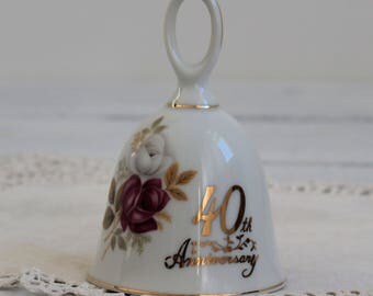 40th  Anniversary Bell,Ruby,To Mother and Dad,Ceramic Gift Bell, 40th Wedding Anniversary Gift, Fine China,Norcrest,Vintage, Made in Japan