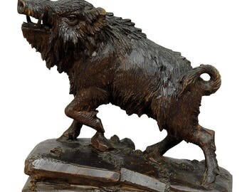 antique black forest carved wood wild boar - brienz ca. 1900