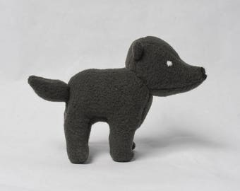 Dark Grey Wolf Plush--READY TO SHIP