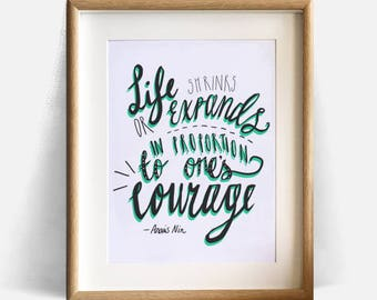 Anais Nin typography quote, poetry, book, literature, motivational, bravery, courage, motto, inspirational - Instant download wall decor