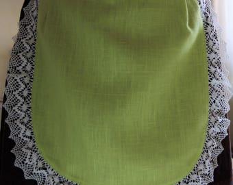 inen Half Apron -  Cafe Apron - Linen Apron -  Apron with lace - Green Apron