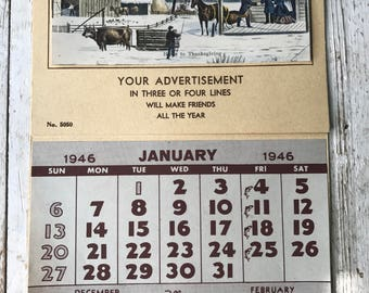 Antique 1946 Salesman sample Calendar