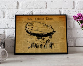 Airship Dirigible Vintage poster, Gift poster, Airship Dirigible wall art, Airship Dirigible Vintage wall decor, Airship Dirigiblet print