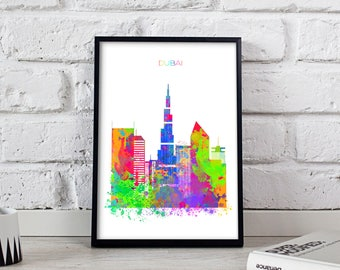 Dubai print Dubai decor Watercolor Dubai poster Dubai Skyline Burj Khalifa poster Watercolor Dubai art Gift poster