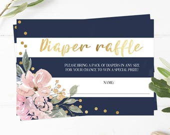 Kate Baby Shower Games Printable, Diaper Raffle Tickets, Floral and Stripes Baby Shower Diaper Raffle Card, Inserts Instant Download PDF GF1
