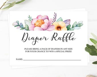 Floral Diaper Raffle Cards Diaper Raffle Ticket Girl Baby Shower Card Girl Diaper Raffle Ticket Printable Girl Flowers Baby Shower Games FU1