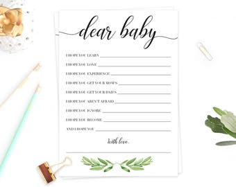 Baby Shower Games Printable Dear Baby Shower Game Instant Download Green Leaves Watercolor Baby Shower Game Baby Wishes Download Baby GL1