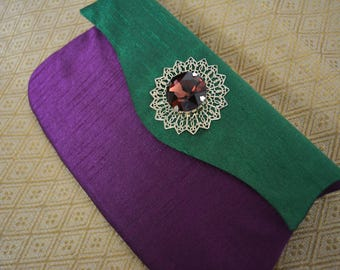 Emerald & Purple Clutch
