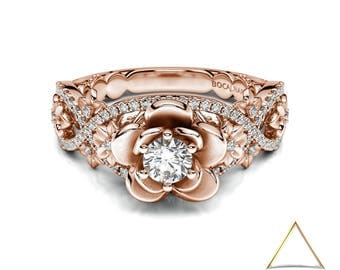Diamond Flowers Rose Gold Ring, Botanical Diamond Ring, 14K Flowers Ring, Blossom Diamond Ring, Flower Vintage Ring, Engagement Leaf Ring
