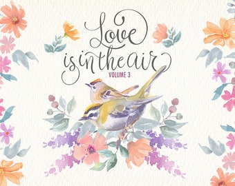 watercolor clipart set. Love is in the air
