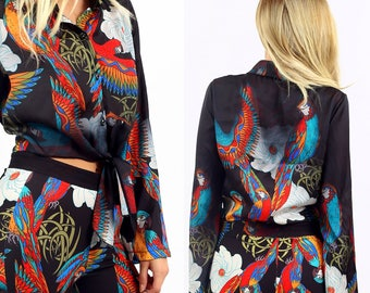Black Heaven Light '70s Tie Front Satin Button Down Long Flare Sleeve Shirt Top